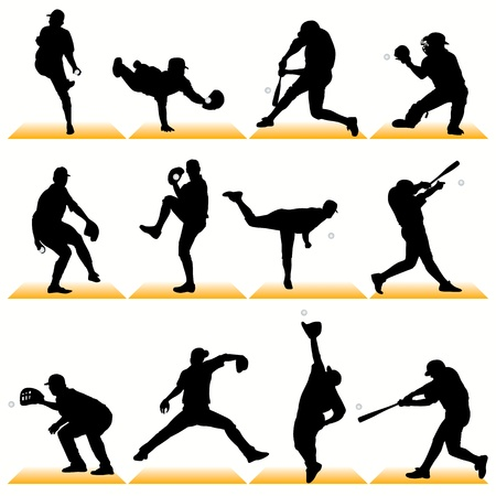 catcher baseball: Les silhouettes de baseball d�finir 02 Illustration