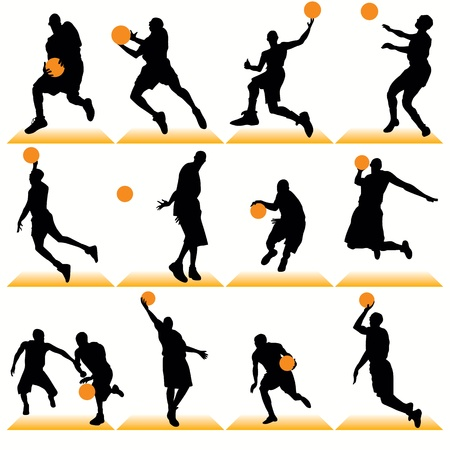 basketball shot: Basketball silhouettes set