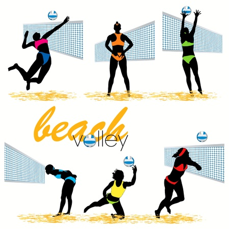 Beach volleyball silhouettes set Vector
