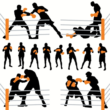 fighter: Boxing silhouettes set