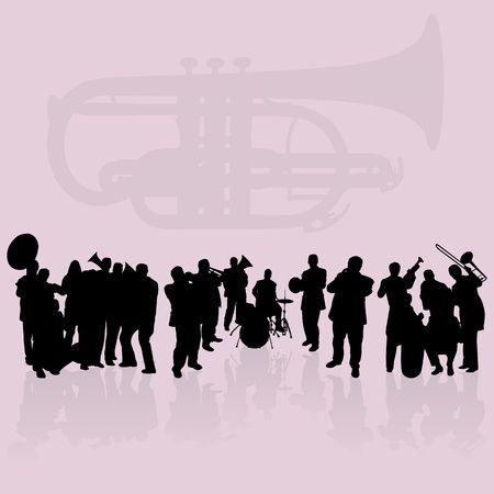 Brass players silhouettes set