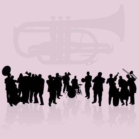 orquesta: Conjunto de siluetas de jugadores de lat�n Vectores