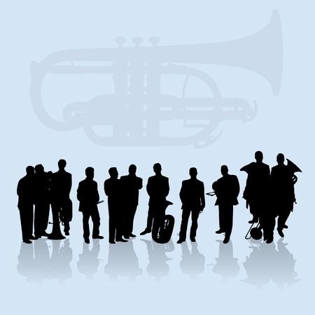 trombone: Brass players silhouettes set