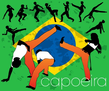 Capoeira silhouettes set Illustration