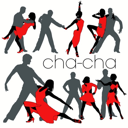 sexual couple: Cha-cha silhouettes set