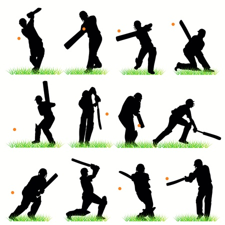 cricketer: Cricket silhouettes set Illustration
