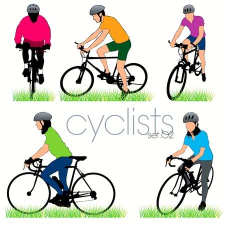 Bikers silhouettes set Vector