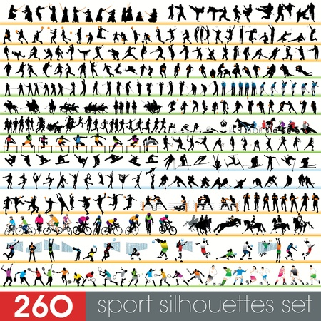 snowboarding: 260 sport silhouettes set