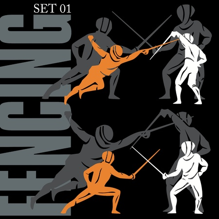 Fencing silhouettes set Stock Vector - 9818034