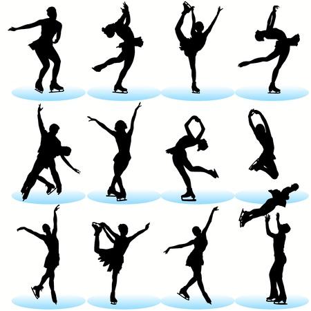 silhouette femme: Ensemble de silhouettes de patinage artistique