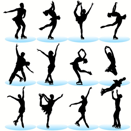 Figure skating silhouettes set Vector