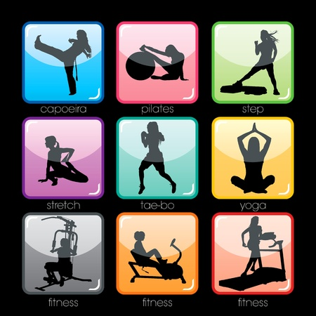 tae: Fitness buttons set Illustration