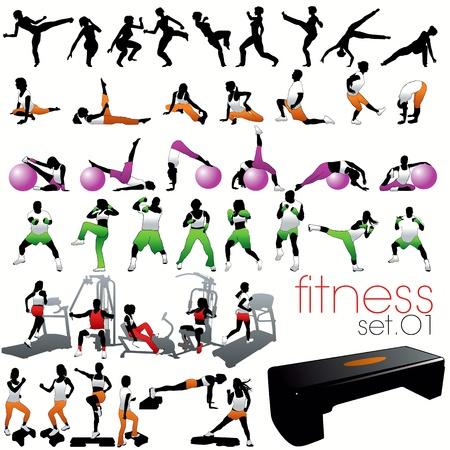 tae: Conjunto de siluetas de fitness Vectores