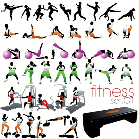 Fitness silhouettes set Vector