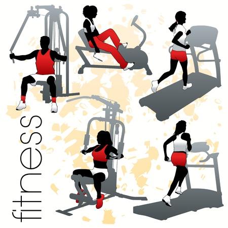Fitness silhouetten set Vector Illustratie