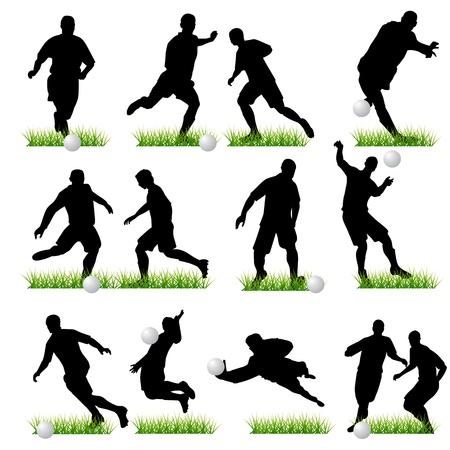 goal keeper: Voetbal spelers set Stock Illustratie