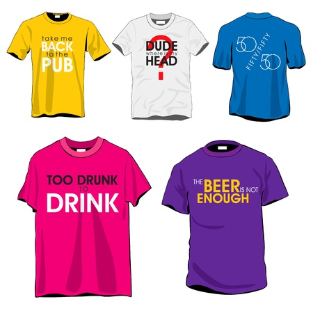 Leuke t-shirts set Stock Illustratie