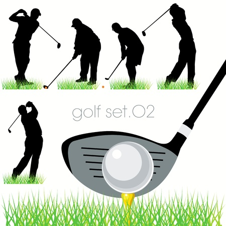golfing: Golf spelers silhouetten te stellen Stock Illustratie