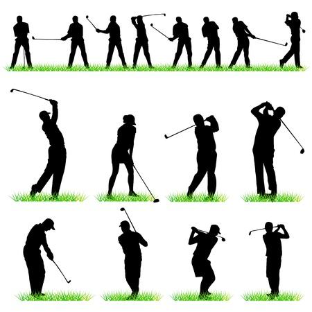 columpio: Conjunto de siluetas de jugadores de golf