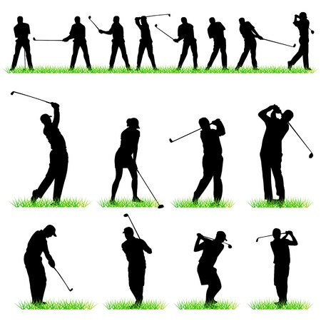golf green: Golf players silhouettes set