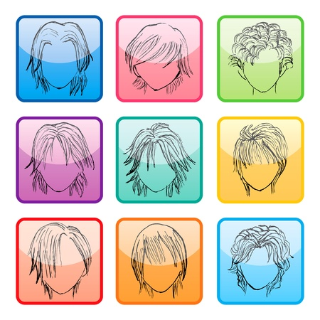 Hairstyle silhouettes buttons set Stock Vector - 9820001