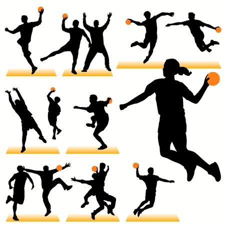 balonmano: Conjunto de siluetas de balonmano