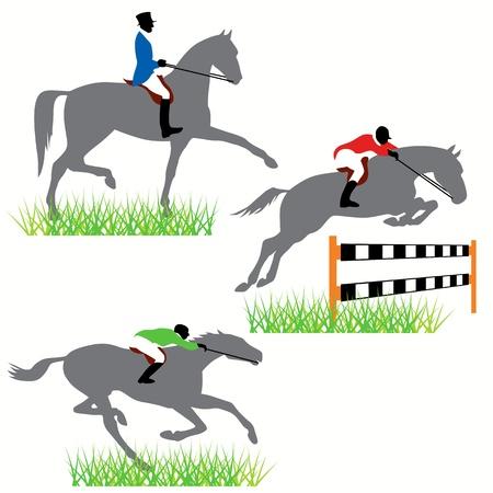 caballo saltando: Conjunto de siluetas de caballos Vectores