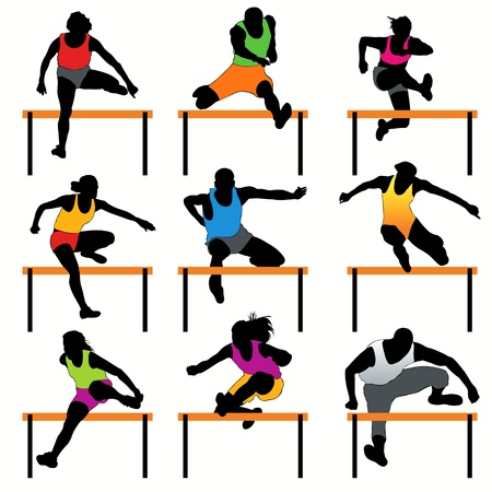 athletics track: Hurdles silhouettes set