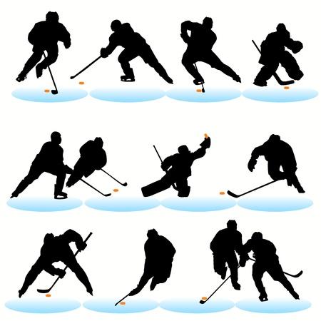 Hockey silhouettes set Stock Vector - 9817592