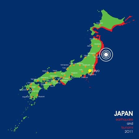 ideograph: Japan 2011 earthquake map with epicenter Illustration