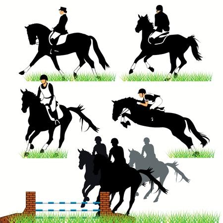 Jinetes y caballos de conjunto Ilustración de vector
