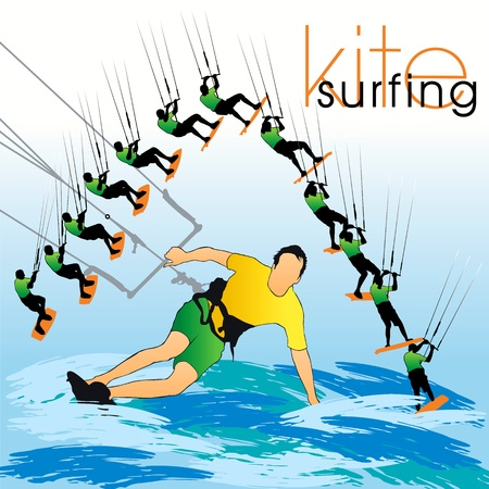 Kite surfing silhouettes set Stock Vector - 9819997