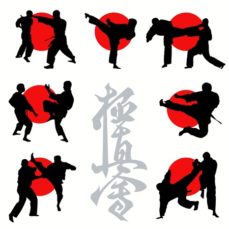 Kyokushin karate silhouettes set Vector
