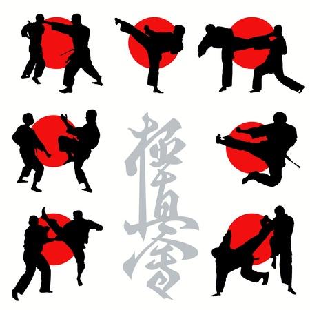 combat: Kyokushin karate silhouettes set