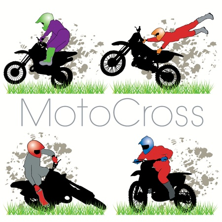 Motocross silhouettes set Vector