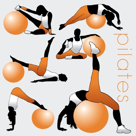Pilates silhouettes set Illustration