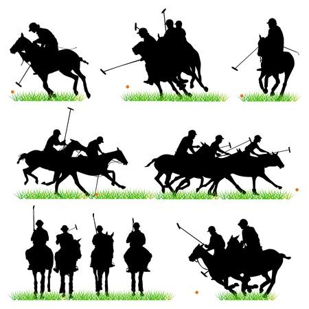 Polo silhouettes set Vector