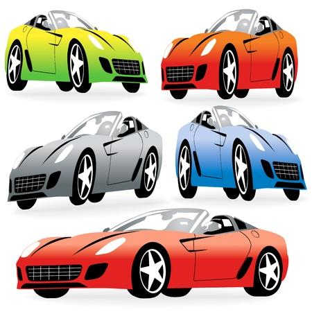 Cartoon racing cars set Vector