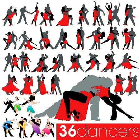 36 dancers silhouettes set Stock Vector - 9903932