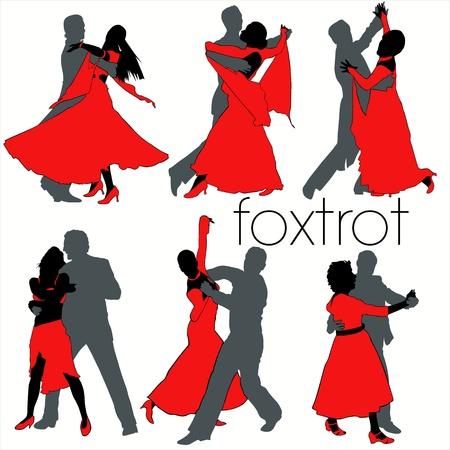 Foxtrot dansers silhouetten set
