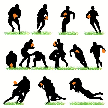 pelota rugby: Conjunto de siluetas de jugadores de rugby