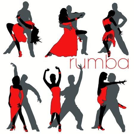 Rumba dancers silhouettes set