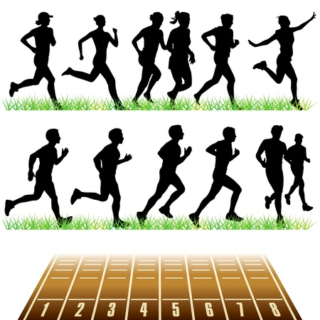 Running peoples silhouettes set