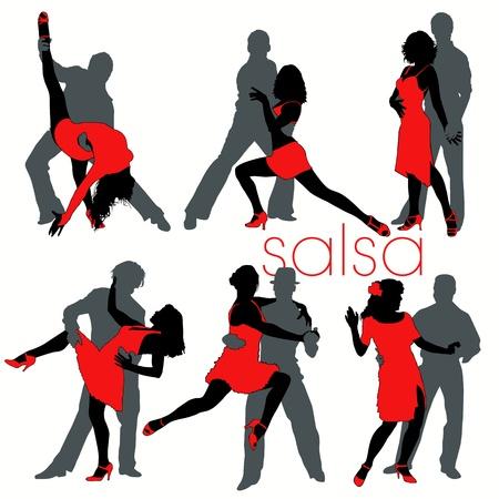 bailar salsa: Conjunto de siluetas de bailarines de salsa Vectores