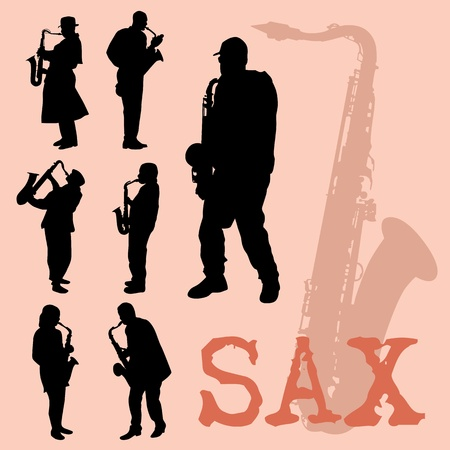 Saxophone players silhouettes set Vector