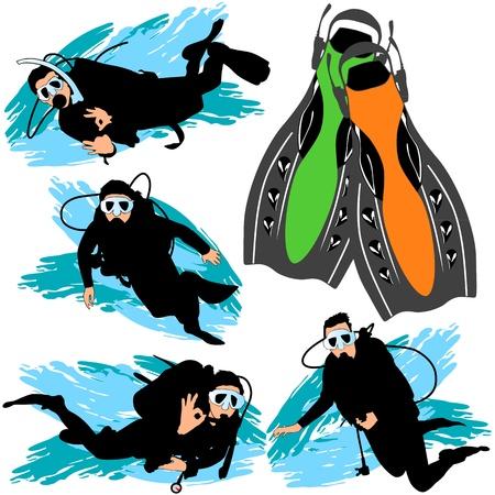 deep sea diver: Scuba diving silhouettes set Illustration