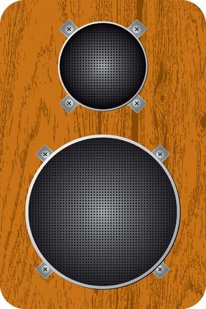 Audio speaker in wood case Vector