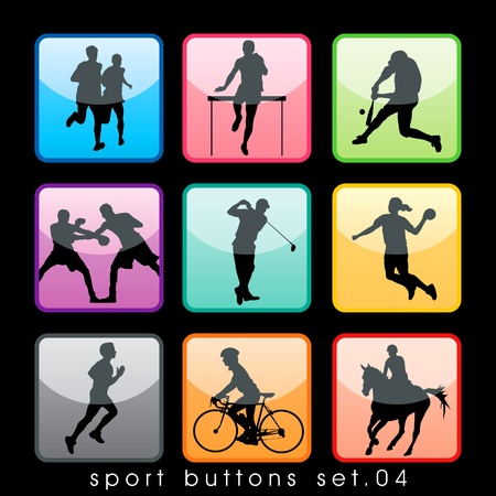 Sport buttons set Vector