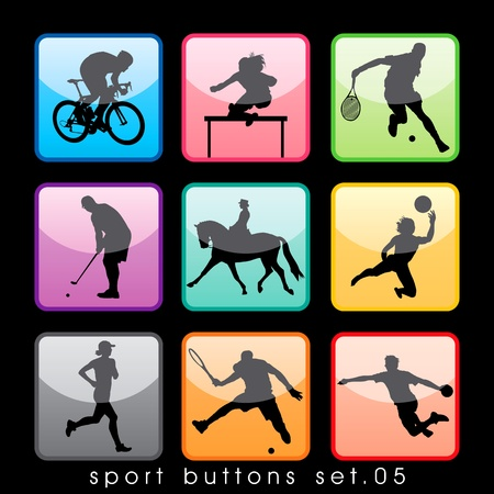 Sport knoppen set Stock Illustratie
