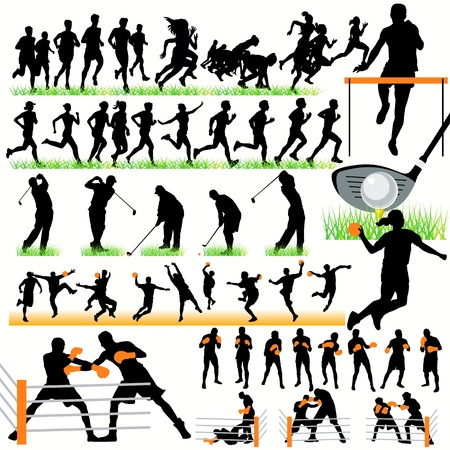 Sport silhouetten set.03 Stock Illustratie